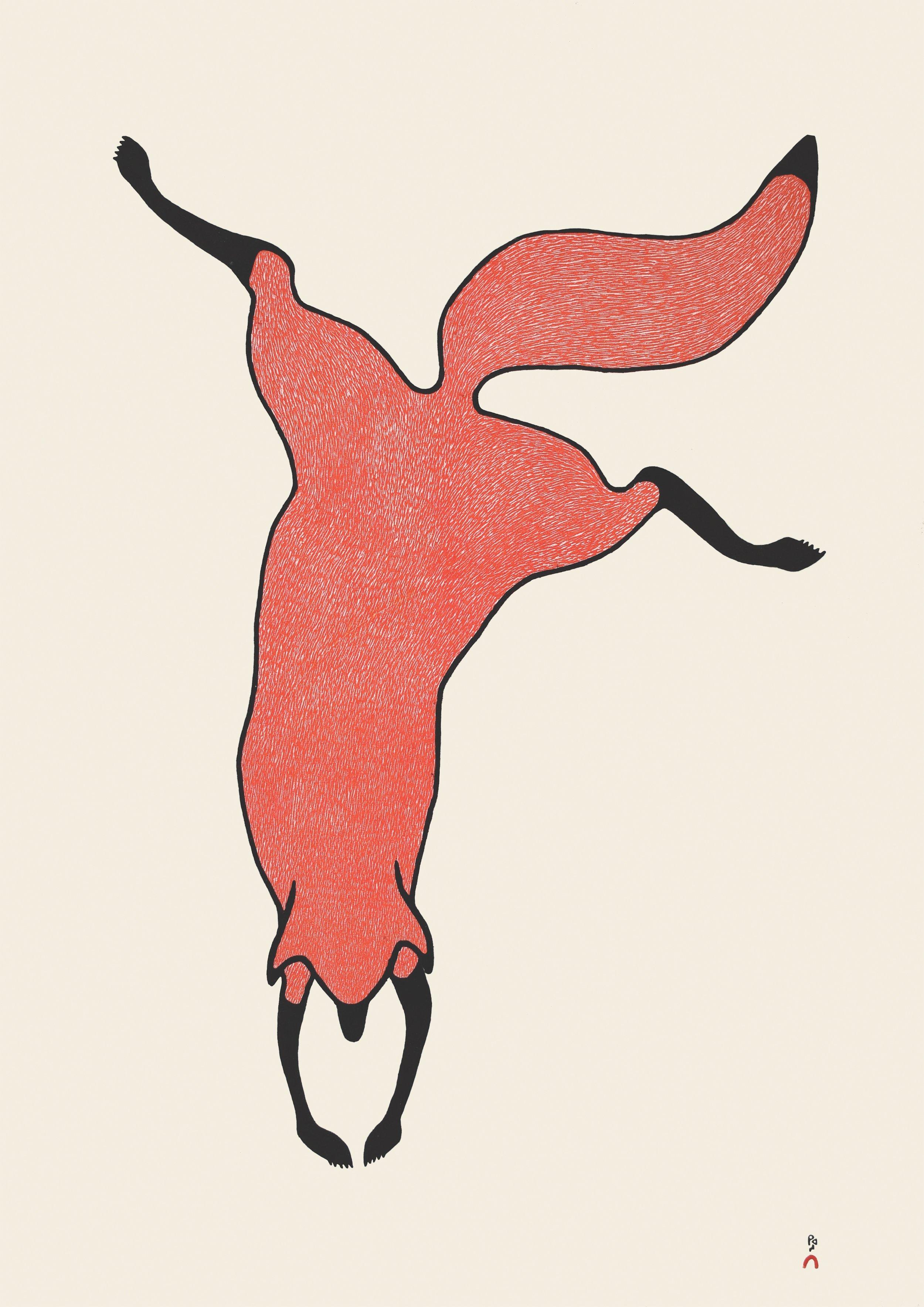 QUVIANAQTUK PUDLAT  30. Agile Fox  Stonecut  Paper: Kizuki Kozo Natural  Printer: Qiatsuq Niviaqsi  83.8 x 58.5 cm  $ 900