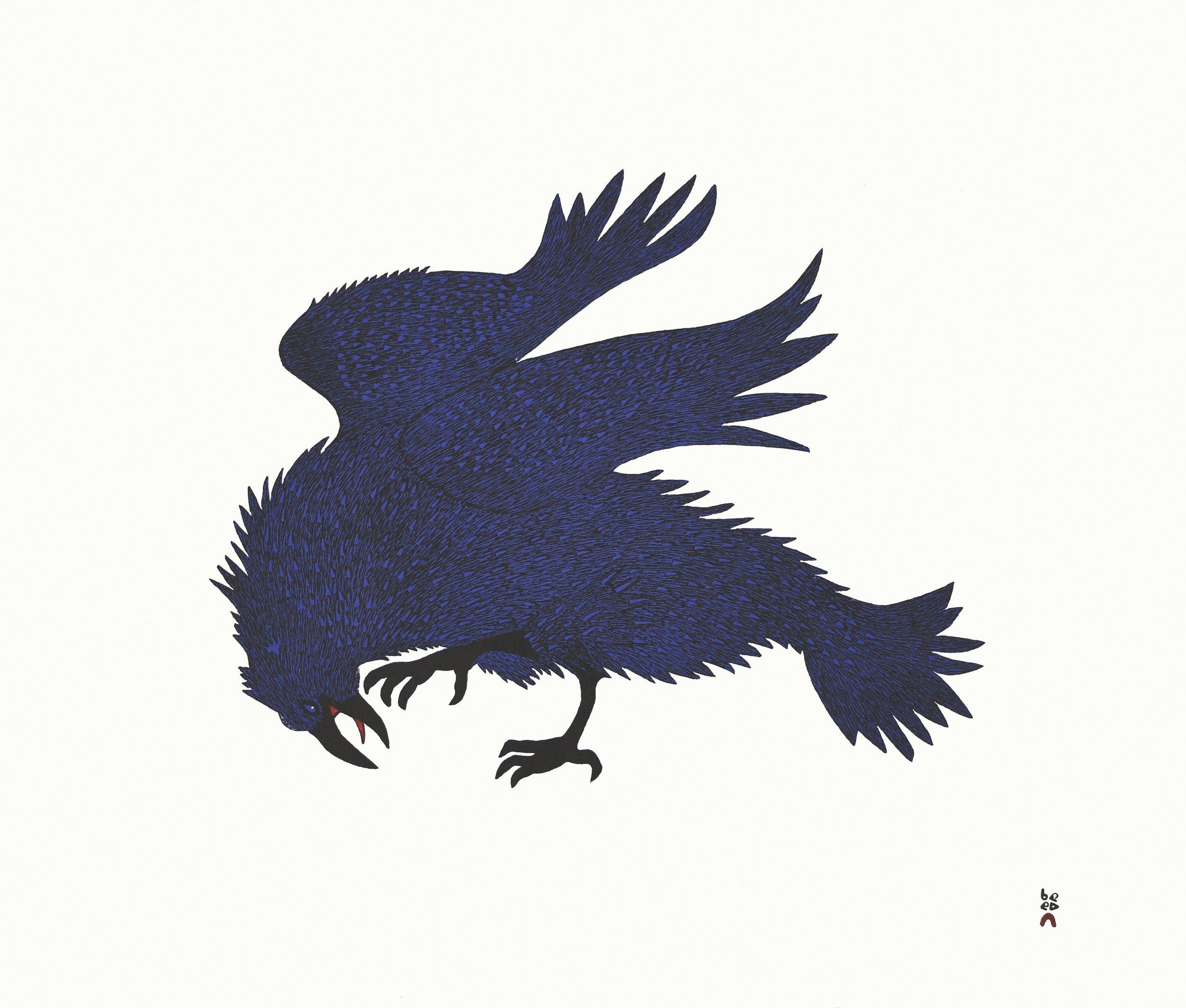 QUVIANAQTUK PUDLAT  31. Electric Raven  Stonecut & Stencil  Paper: Kizuki Kozo White  Printer: Qavavau Manumie  62 x 73 cm  $ 900