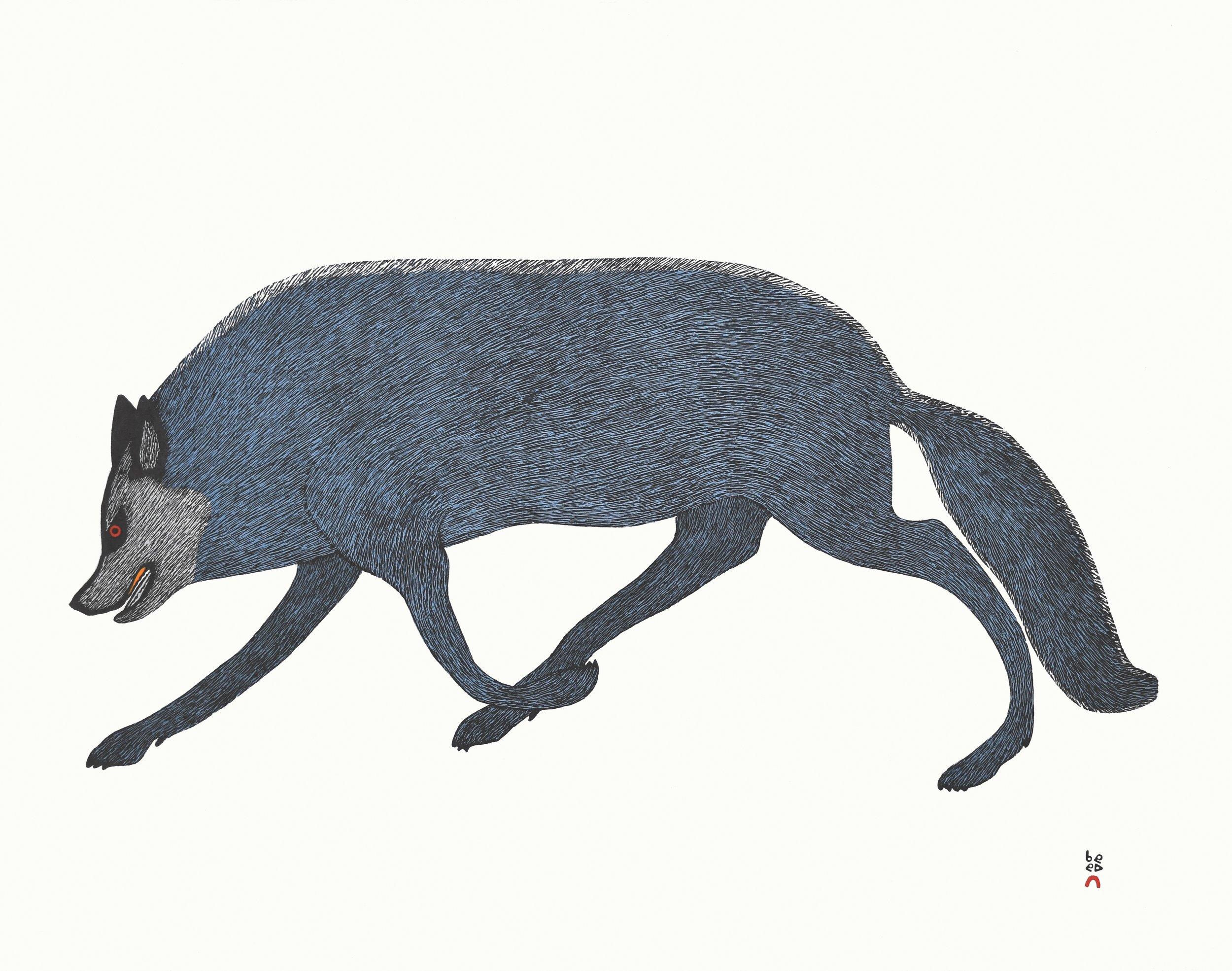 QUVIANAQTUK PUDLAT  32. Tundra Wolf  Stonecut  Paper: Kizuki Kozo White  Printer: Qavavau Manumie  61.8 x 79.2 cm  $ 900