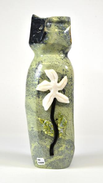 """Jamesie Pitseolak  8390M  Vase , 2019 serpentinite, marble H13"""" W3.5"""" D4'"""