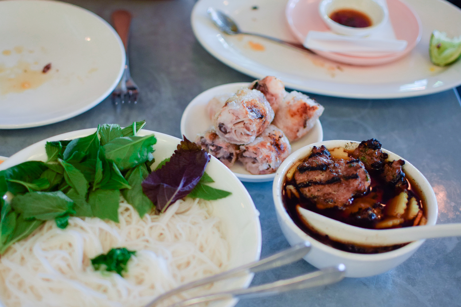 Large // Bun Cha Hanoi // Pork patties and belly in caramel fish sauce marinade, imperial rolls, rice vermicelli, and herbs
