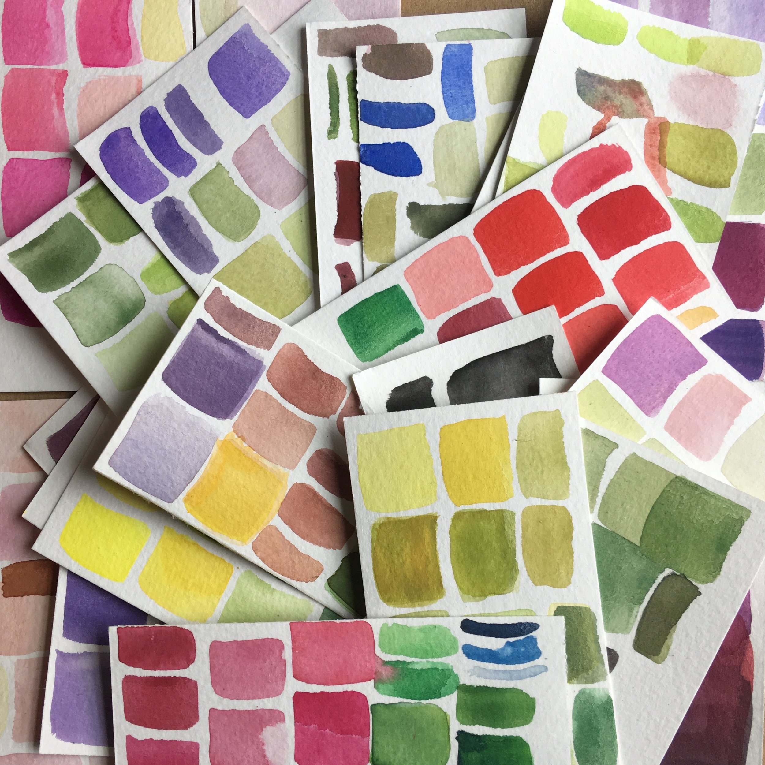 Watercolor swatches, evidence of testing and trying to see