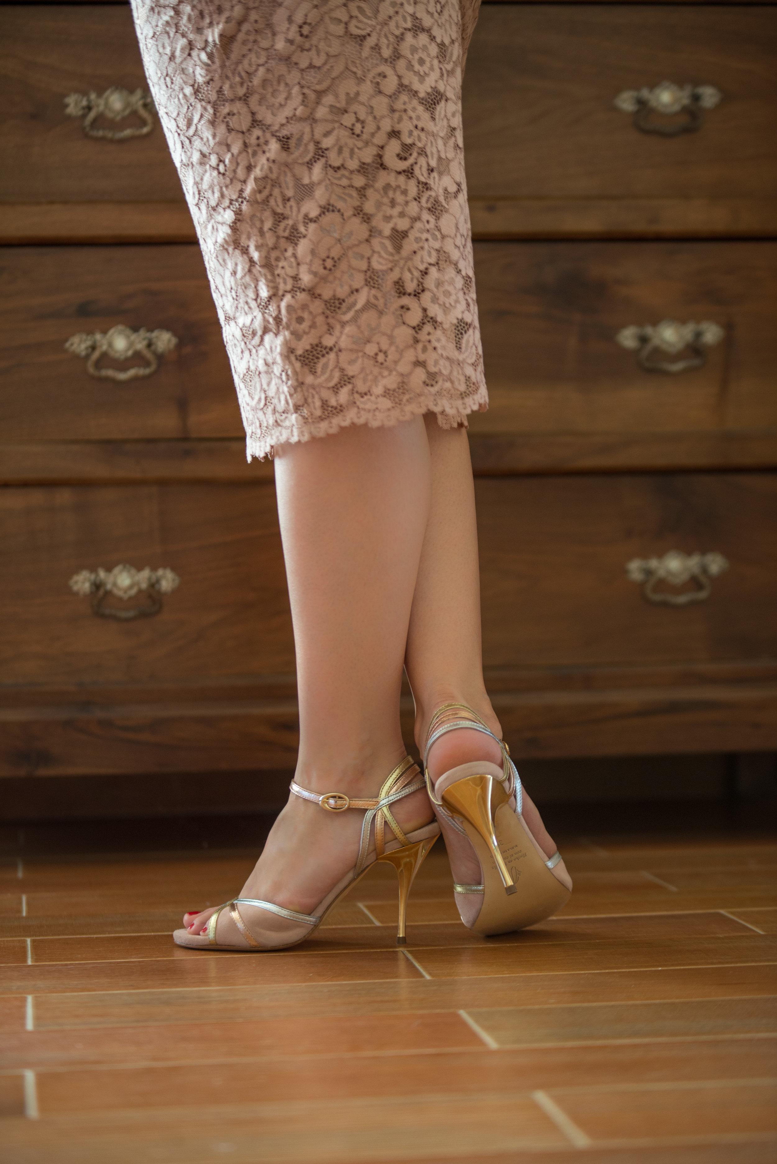 Click to shop Mi Novia soft pink suede tango shoes
