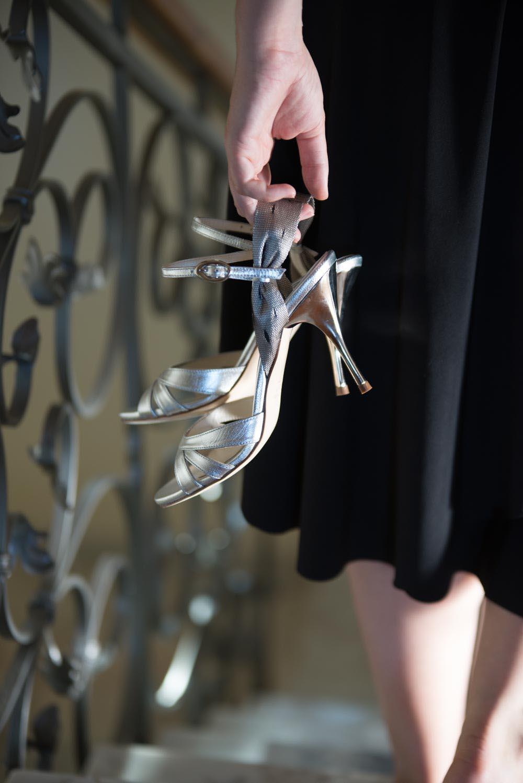 Beautiful high heeled silver tango shoes for women
