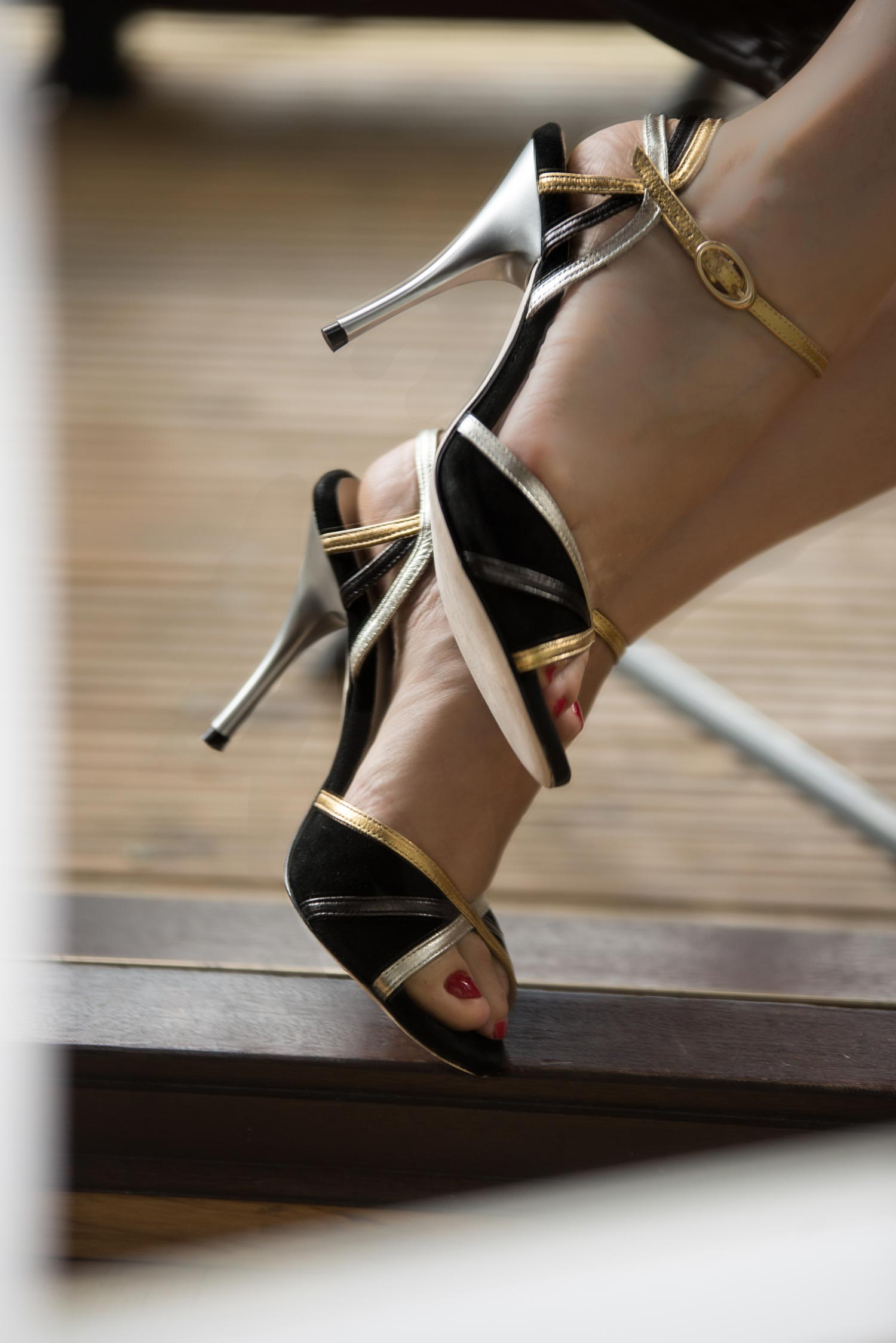 Black silver gold tango shoes