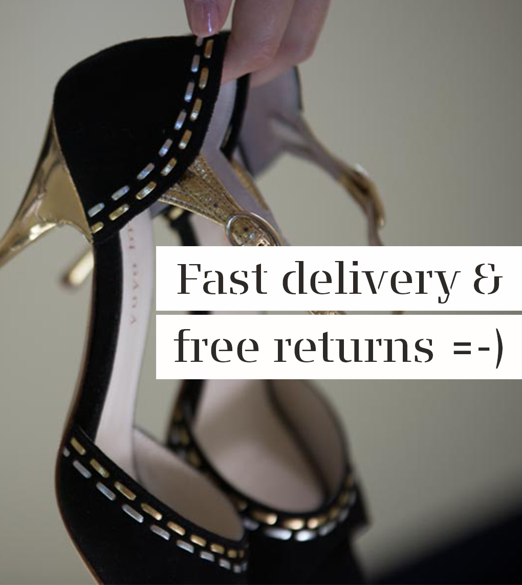Black suede and gold high heel tango shoes for women