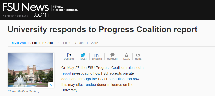 Read the  university's response  to Progress Coalition's donor policy report