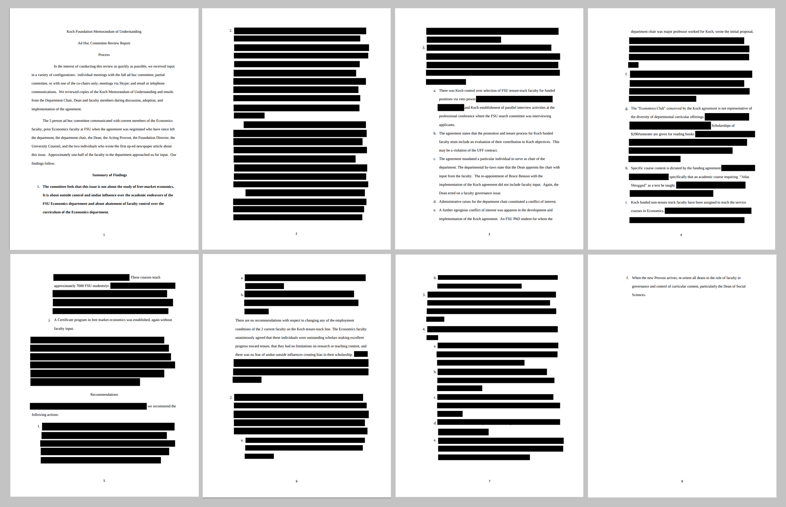 Most of the original 2011 faculty investigation was suppressed. We have blacked-out the portions that were omitted entirely.  Click here to zoom in and read them .