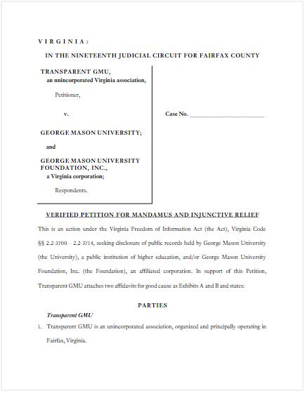 View Transparent GMU's Legal Petition
