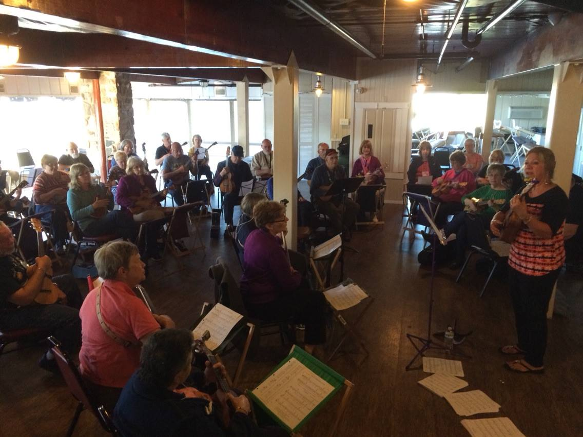Sharrie George teaches a rather large ukulele workshop.