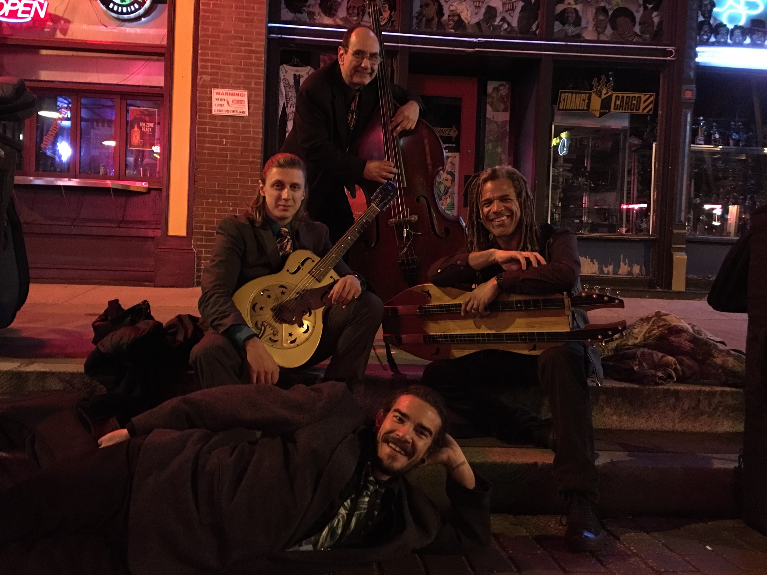 With The David Smash Band at 3 am on Beale after our impromptu street jam.