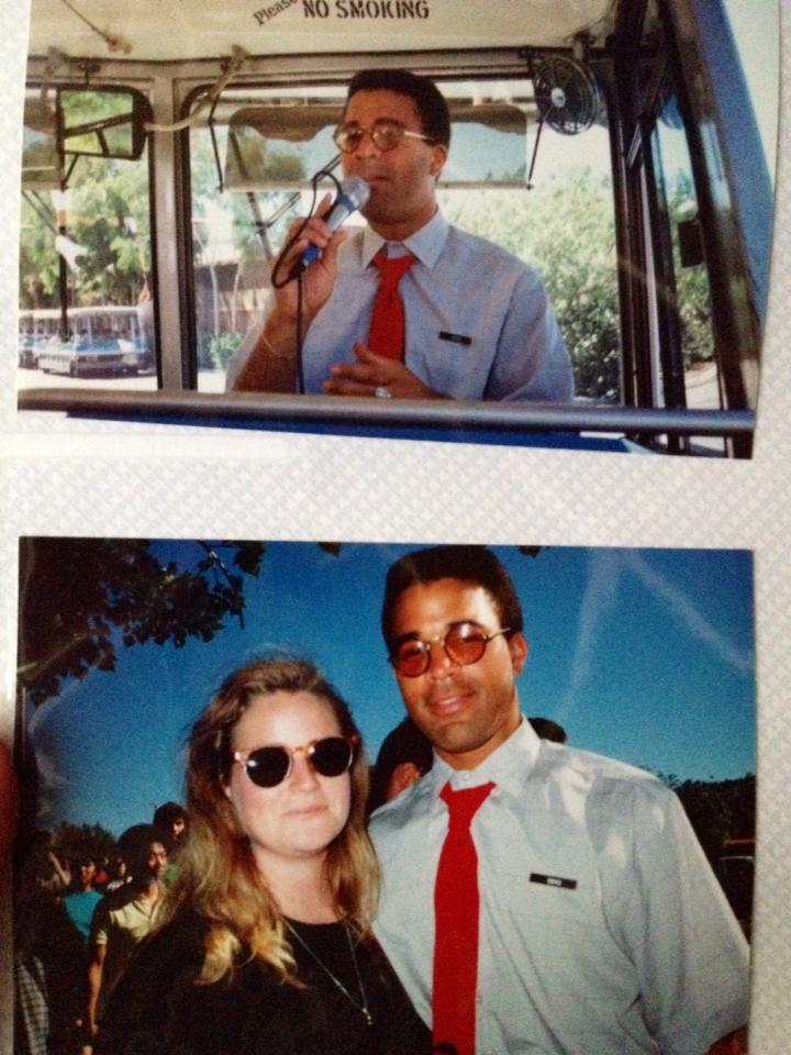 In 1990 as a tour guide at Universal Studios Hollywood (photos by Lara Grant)