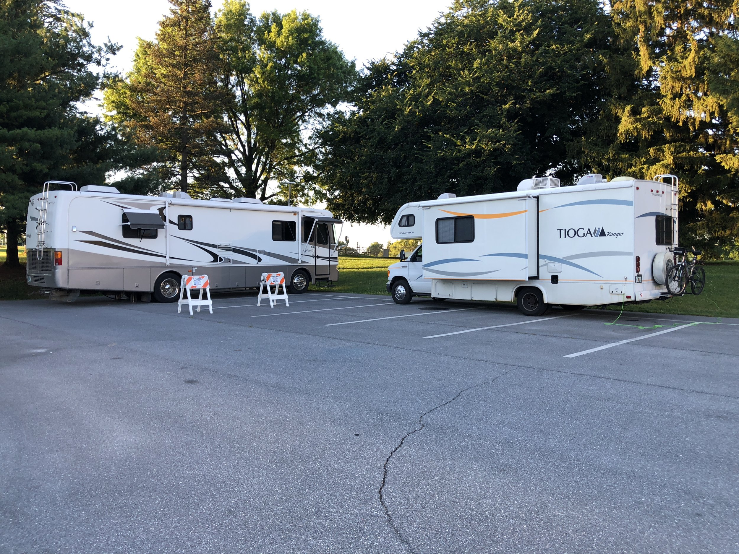 A campground with two sites, shady and peaceful.