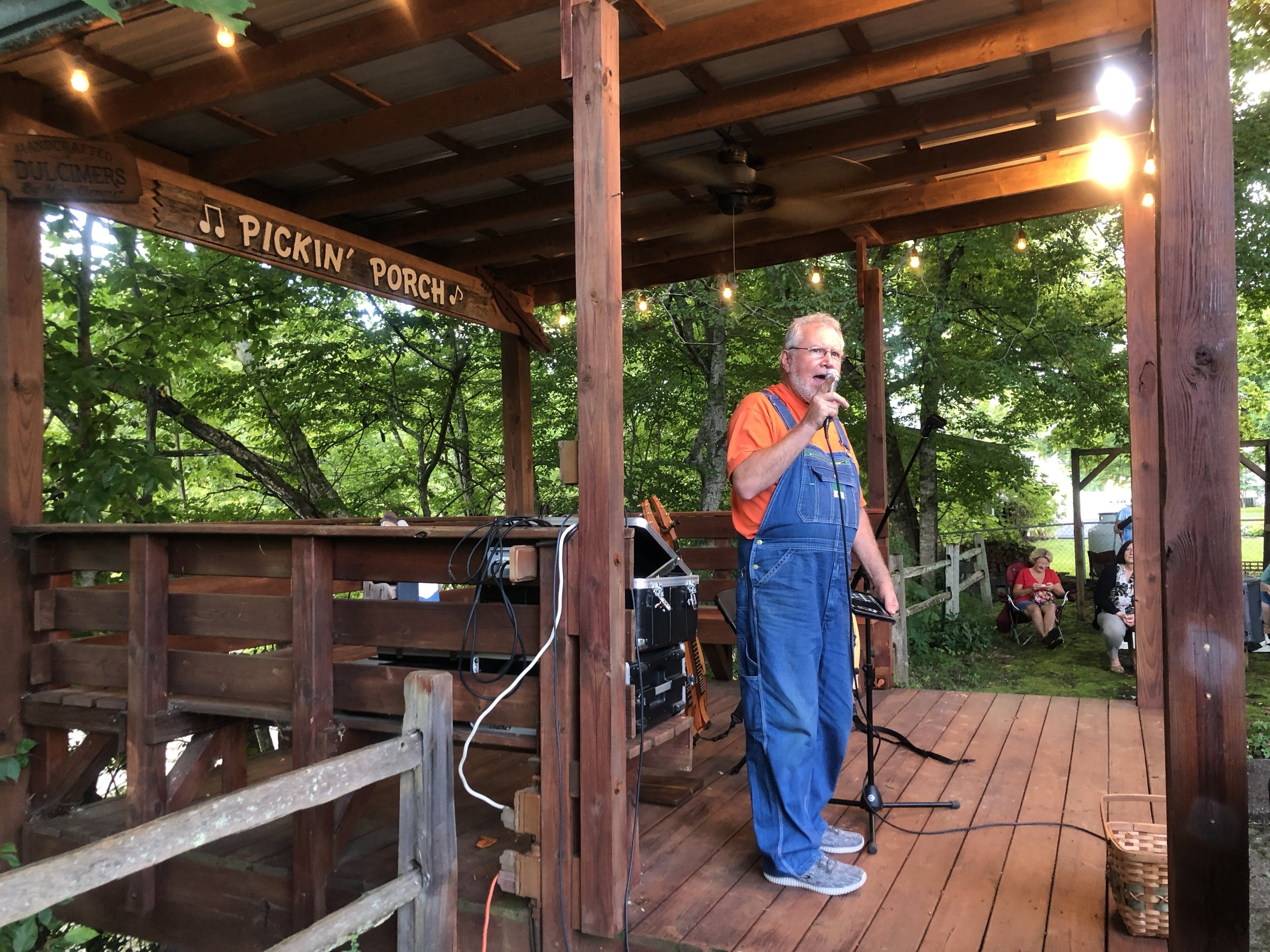 Mike Clemmer addresses the crowd from The Pickin' Porch.