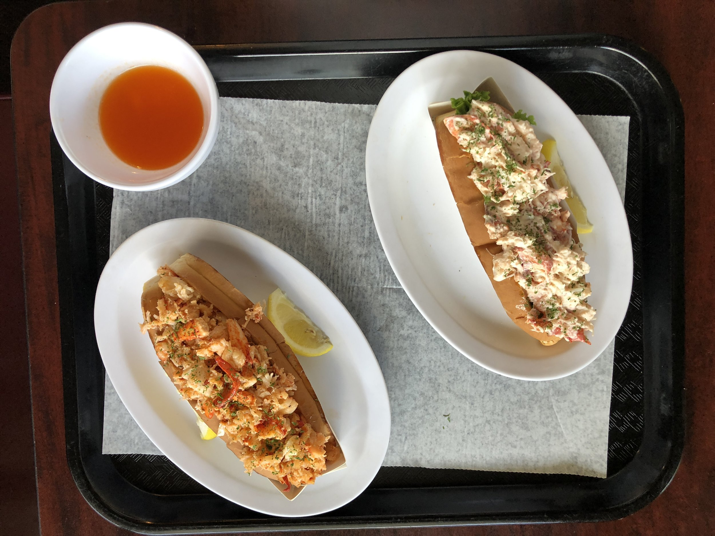 Hot and cold lobster rolls.