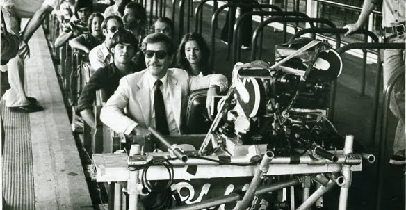 "George Segal during shooting of ""Rollercoaster"" on the Rebel Yell at Kings Dominion Park."