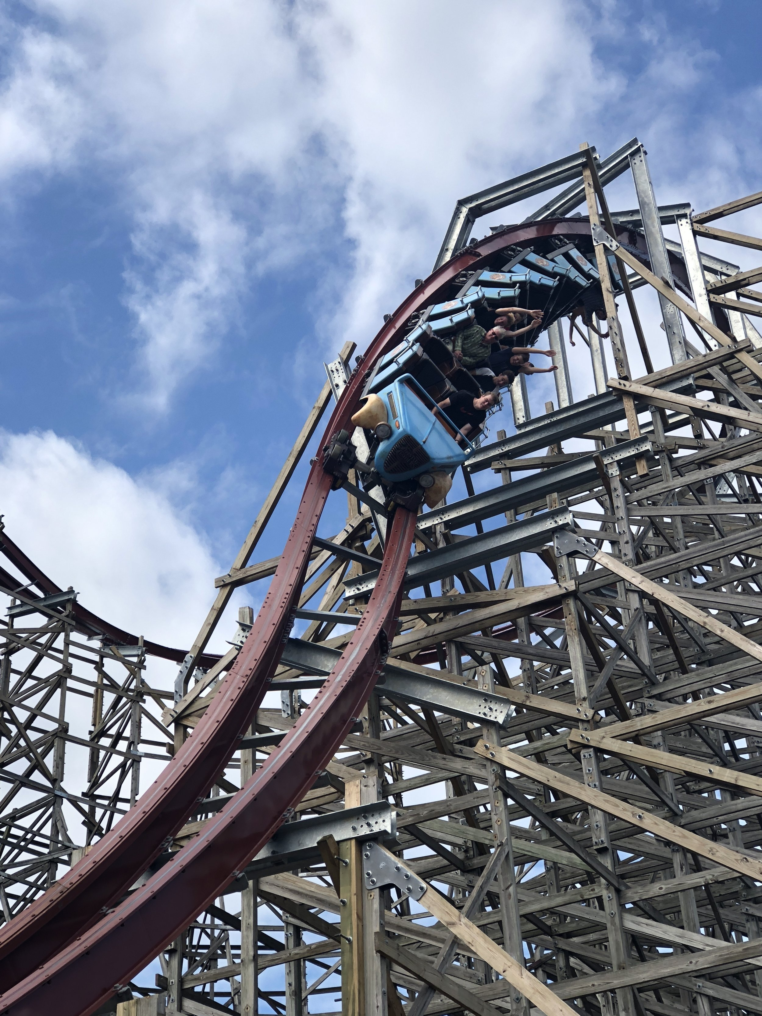 This is the ridiculously fun first drop on Twisted Timbers. The rest of the ride is just as delightfully nuts!