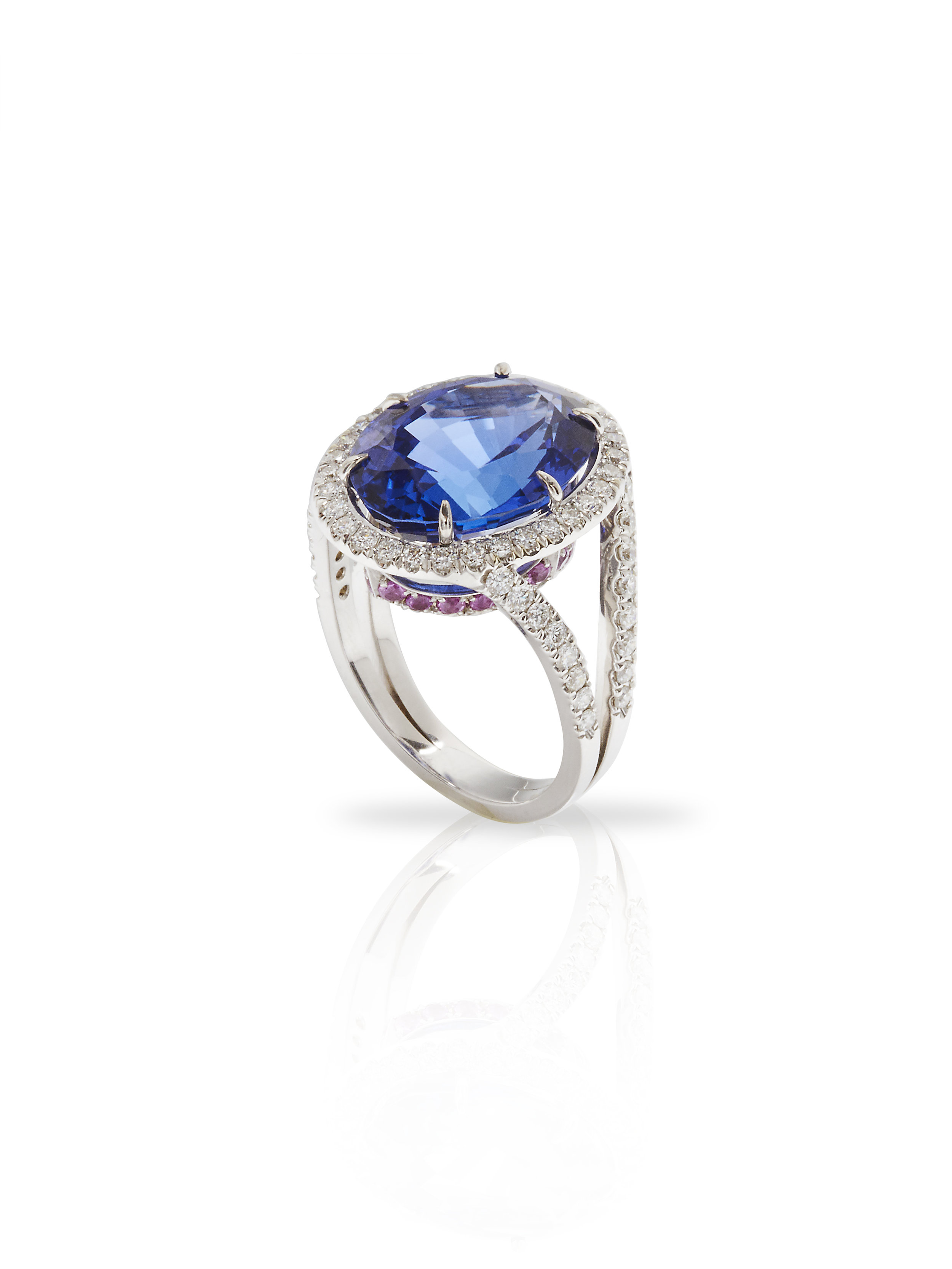 SARA RING   1.20 CT OF DIAMONDS 10.57 CT OF TANZANITE 0.8 CT OF PINK SAPPHIRES      Contact for inquiry