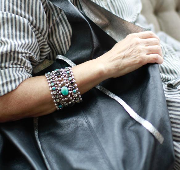 beaded silver bracelet swarovski
