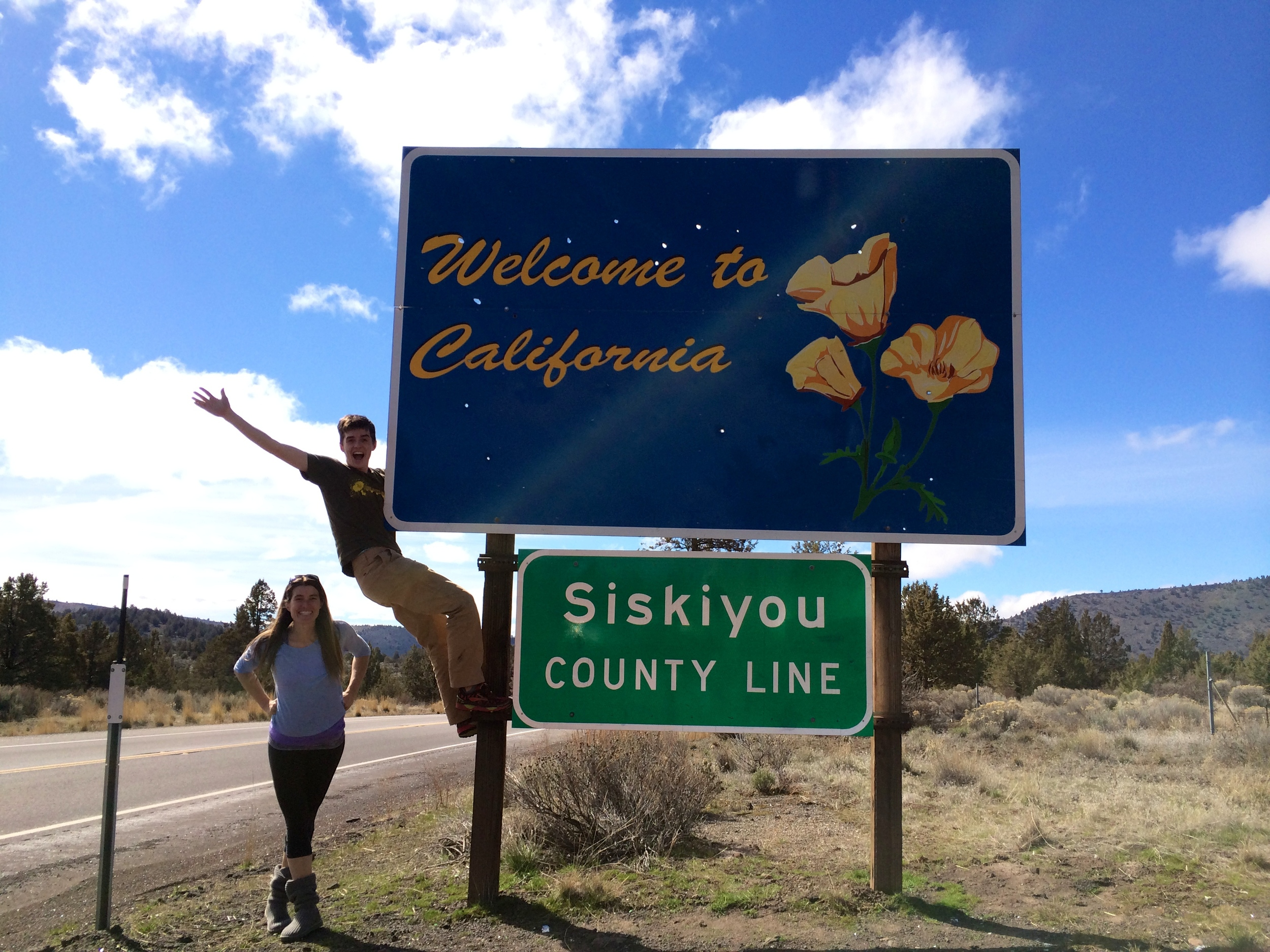 Brooke and Neil entering California for the Way Too Cool 50k Ultra Trail Run