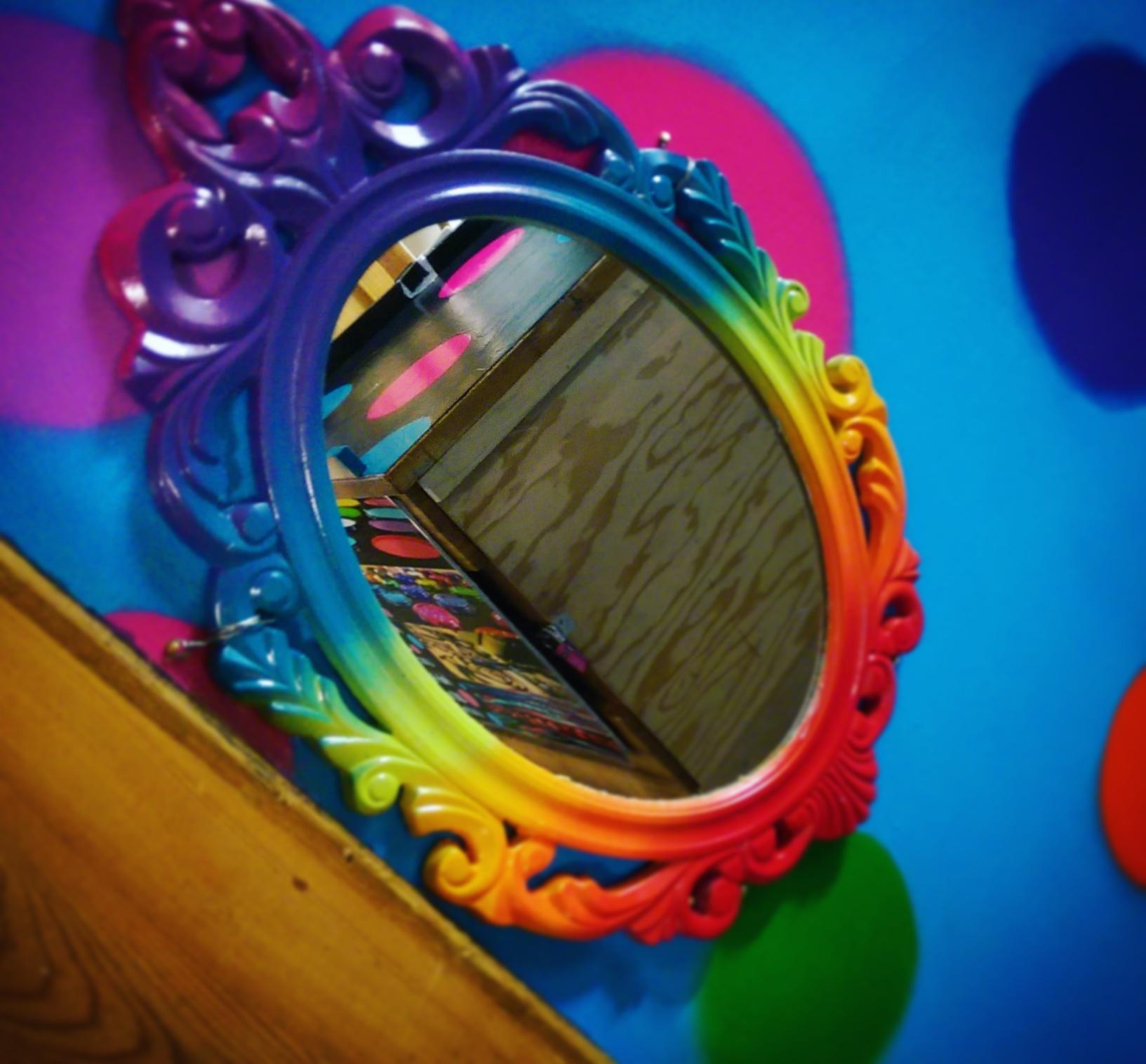 Rainbow mirror at the Calgary Farmers Market
