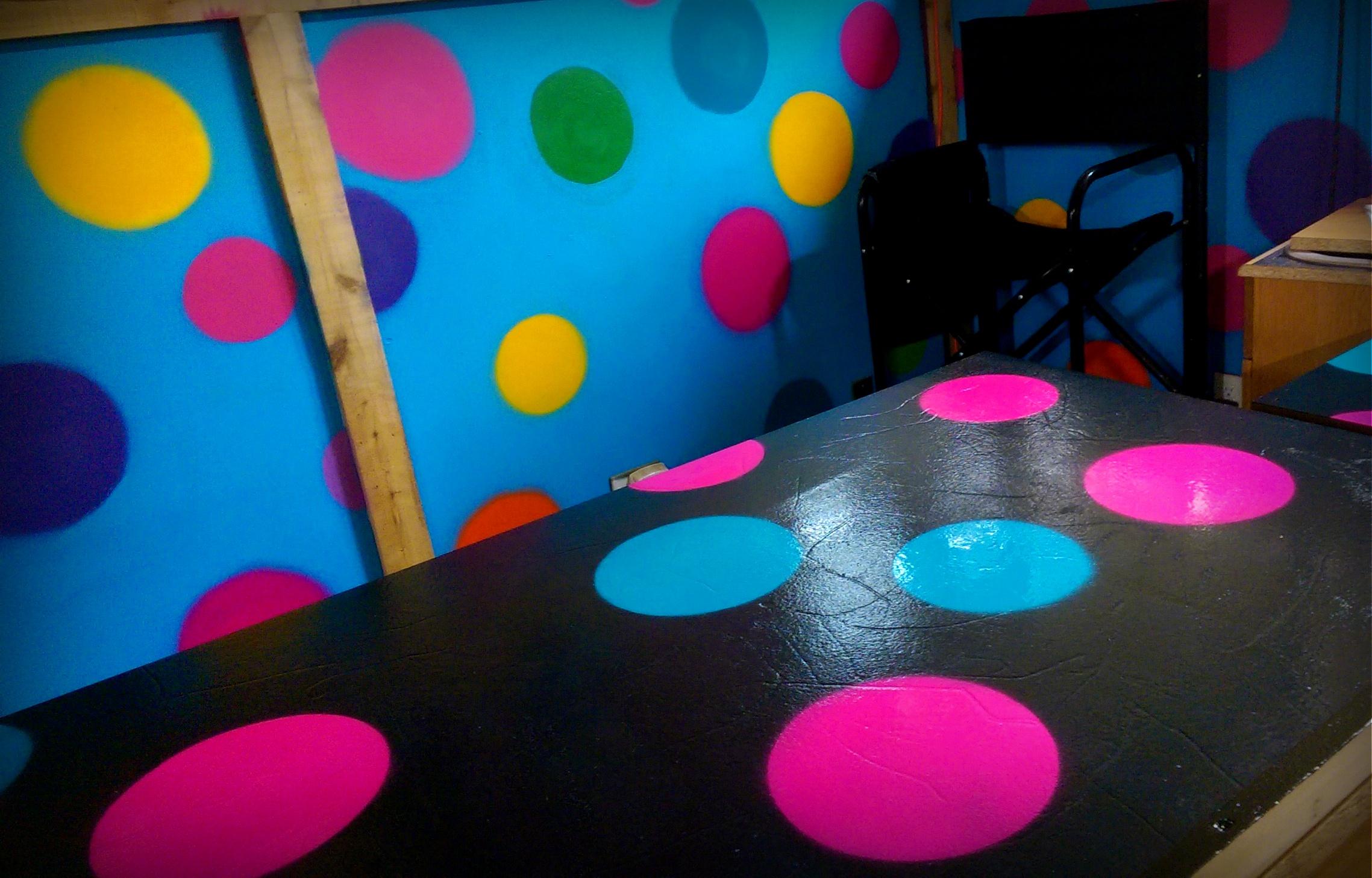 Polka dots at face painting booth at the Calgary farmers market