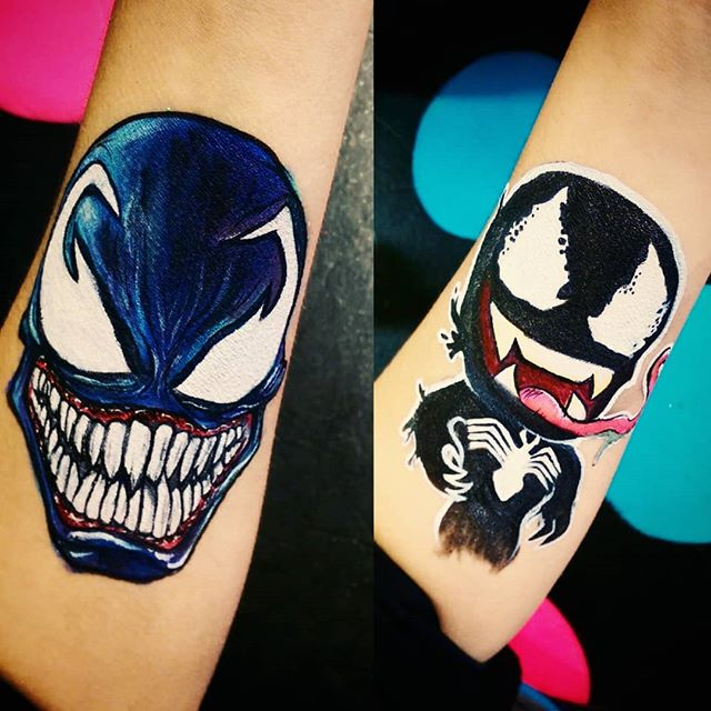 Just #playingaround with some #venom designs! Loved getting to do the #shading on the #comic version! . . #openingweekend #venommovie #marvel #facepaint #fun #yyc #kids #nottooscary #black #supervillain #teeth #Halloween #calgaryfarmersmarket #art #painting