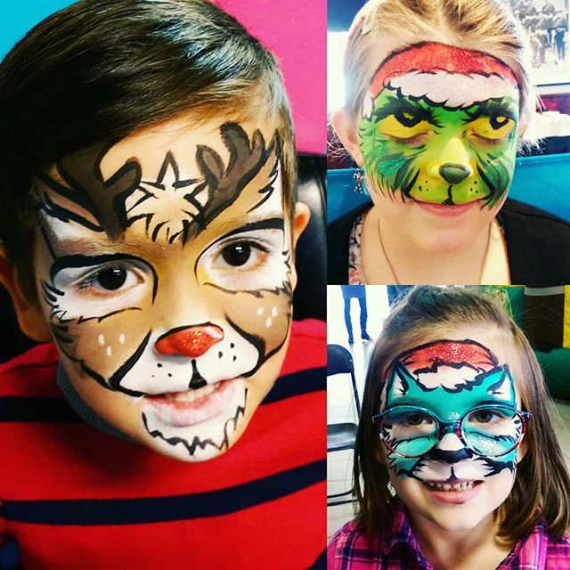 Some fun & festive face paints for the season! Come get your face painted at the #calgaryfarmersmarket until the 23rd (reopening Jan 3rd) . . . #facepaint #yyc #makeup #cute #kids #Rudolph #rednose #reindeer #grinch #cat #santahat #glitter #Christmas #festive #holidays #art #red #green #blue