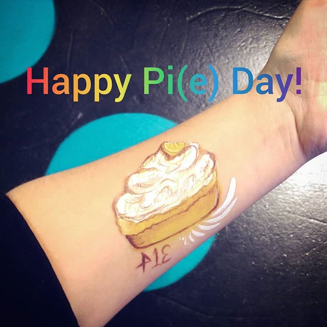 Today is March 14th (also known as pi day)! We will be celebrating with a slice of our favourite, lemon meringue pie. What's your favourite? . . . #piday #pieday #pie #lemonmeringue #facepaint #art #nom #makeup we miss #pushingdaisies #lemon #yyc #favourite #sweet #math