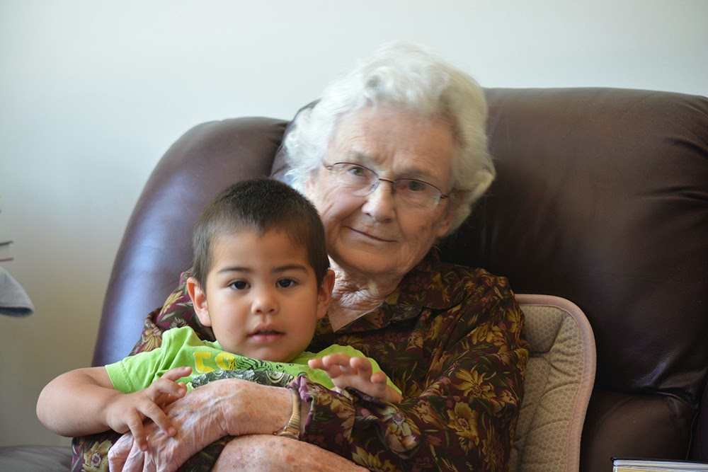 Hanging out with Great Grandma.