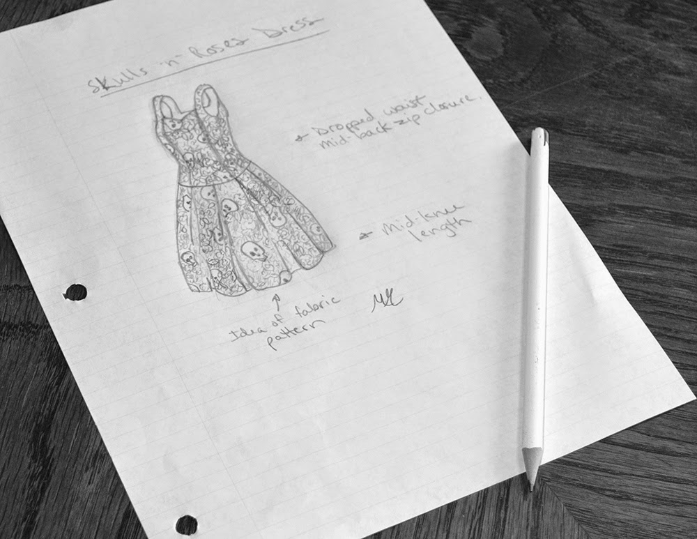 "A rough sketch of one of the designs featured in my new book, ""The Friday Night Date Dress"""