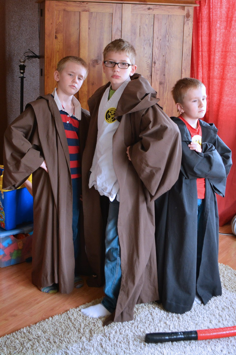 Star Wars Jedi and Sith robes on boys