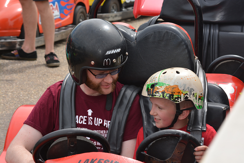 """Uncle"" Logan and Jabin at the Go-Karts"
