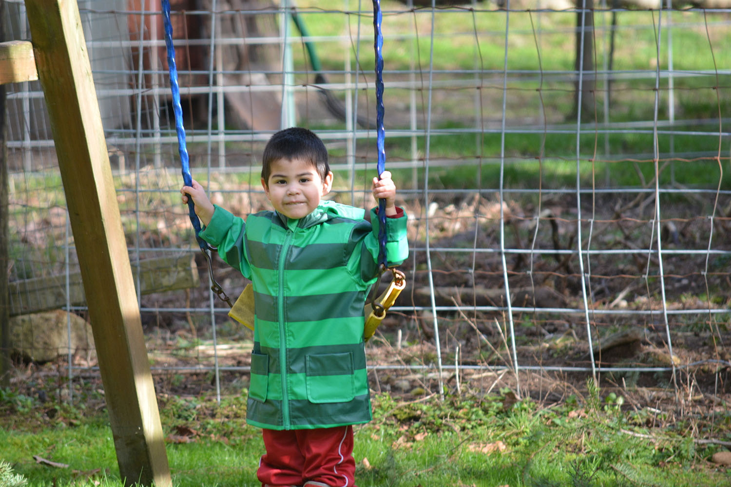 There is a little play set in the yard, which Levi made good use of once he was feeling better!