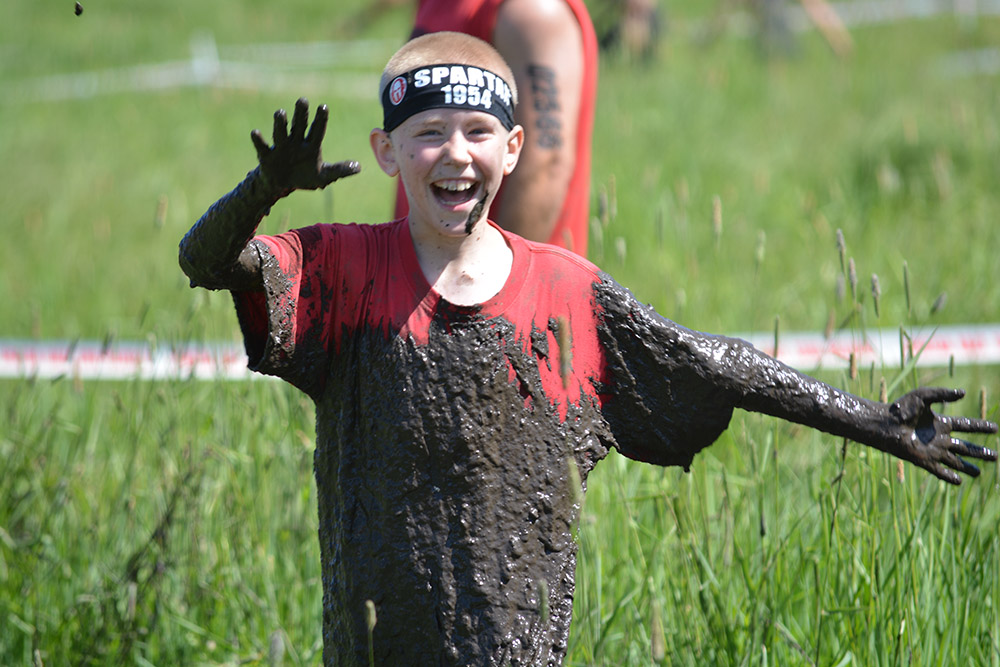 Noah, just after the mud-crawl obstacle.