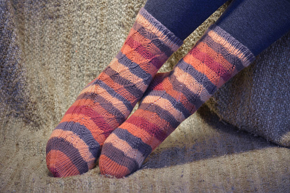 Mirrored twists on Knitting pattern - Jill and the Bean Socks - with cable; pretty mirrored twists up the leg. My Secret Wish by Talena