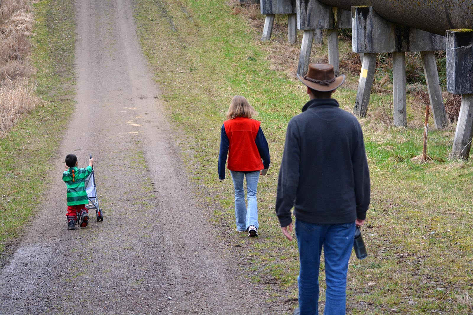 Levi on a walk with his grandma and uncle. February 13, 2015.