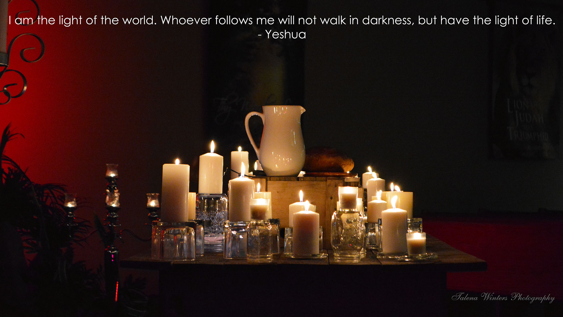 """""""I am the light of the world. Whoever follows me will not walk in darkness, but have the light of life."""" John 8:12 (ESV). To set as wallpaper, click on image, right-click, and """"Set as wallpaper."""" To see more of my free wallpapers, visit  this page ."""