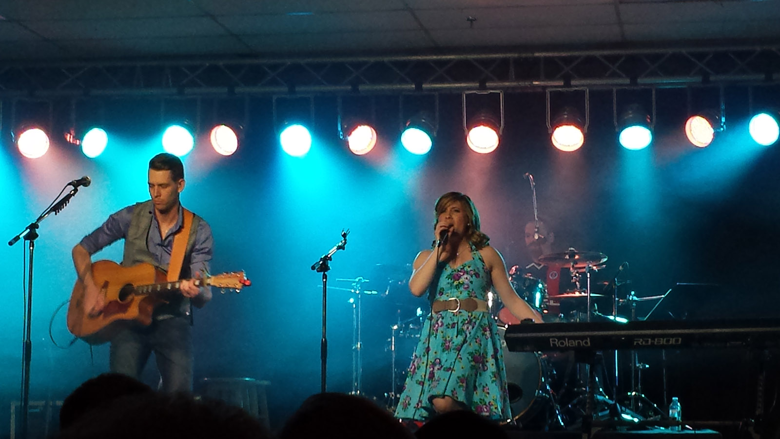 Jason and Katie of Midnight Lights rock out at their EP release Concert in April.