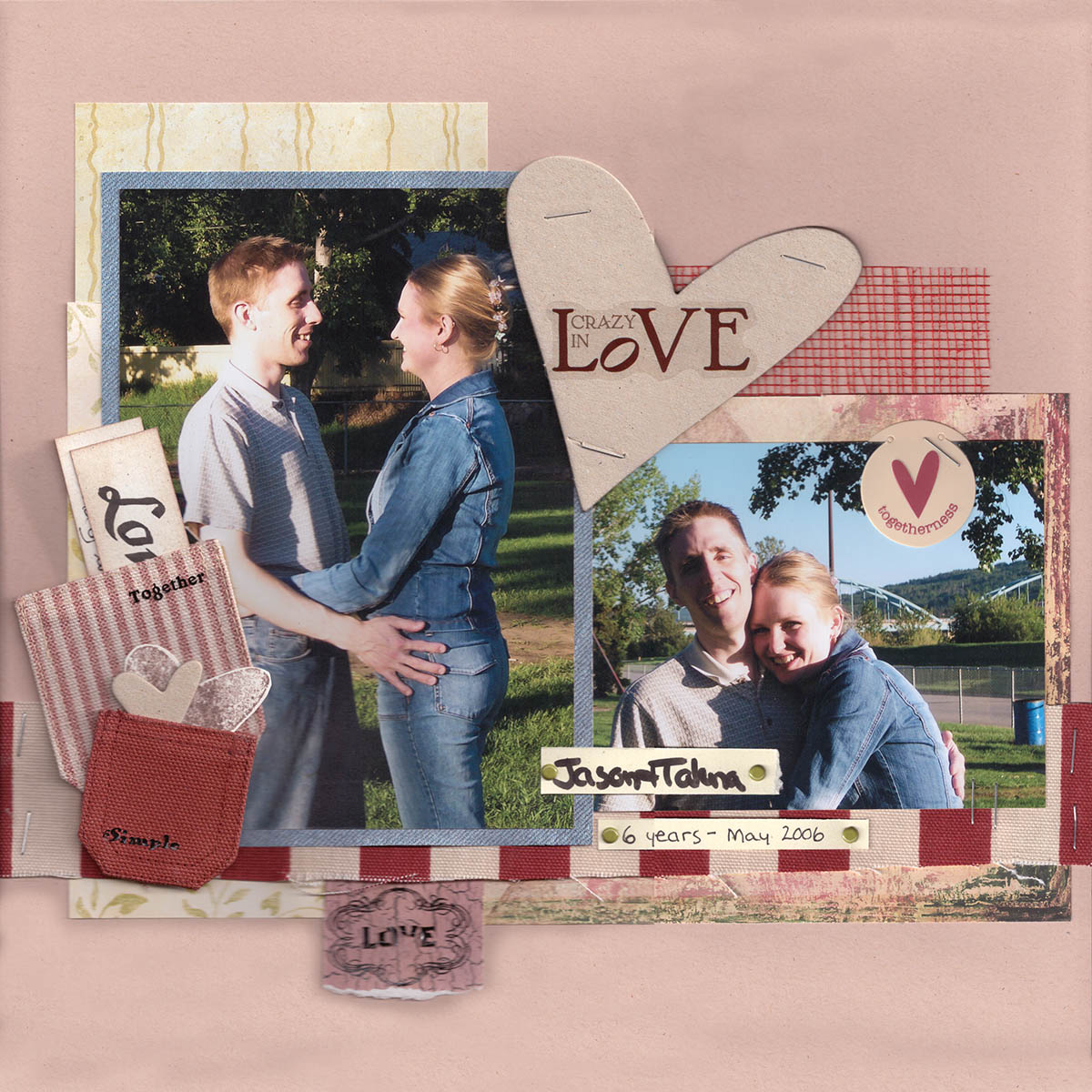 Jason and Talena ten years ago, paper scrapbooking layout (which is usually framed on our wall)