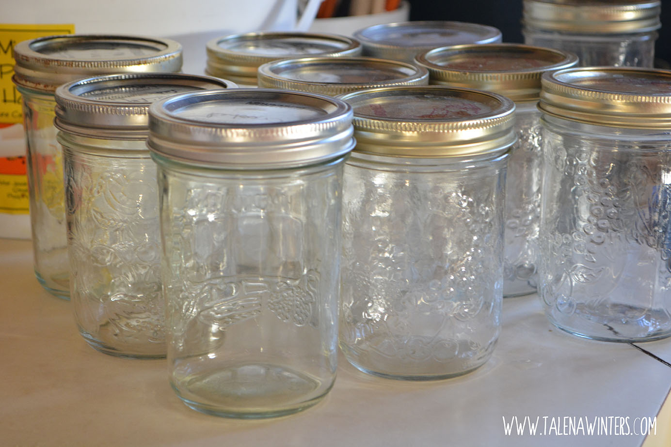 10 clean pint wide-mouth mason jars, ready to go.