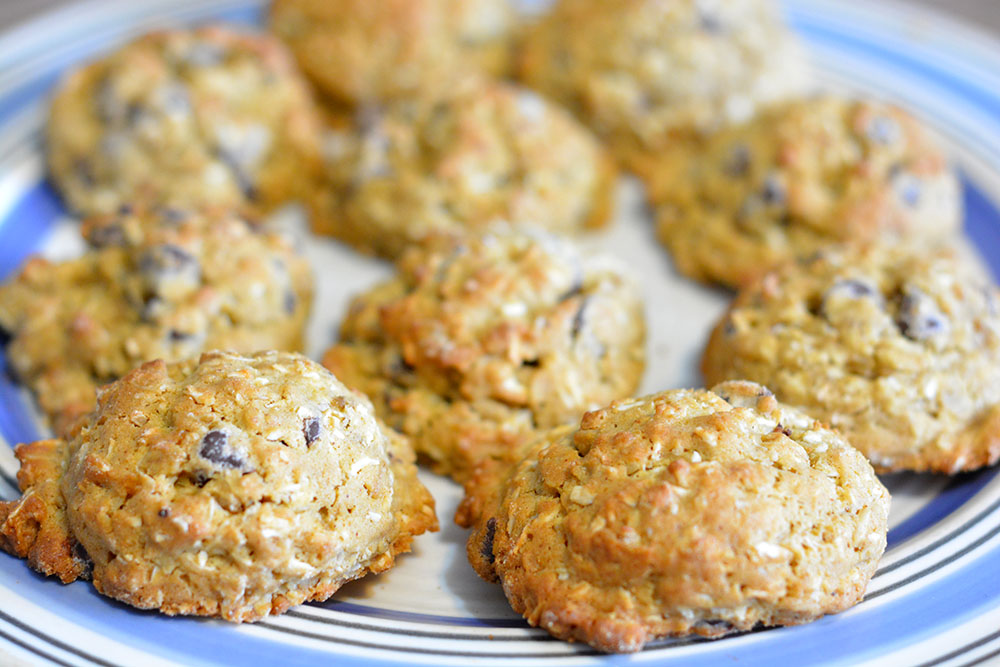 """These awesome Chocolate Chip Cookies are full of healthy grains, fats, and have less sugar since they are sweetened with bananas! """"Trail Mix In a Lump"""", as I like to call them!"""