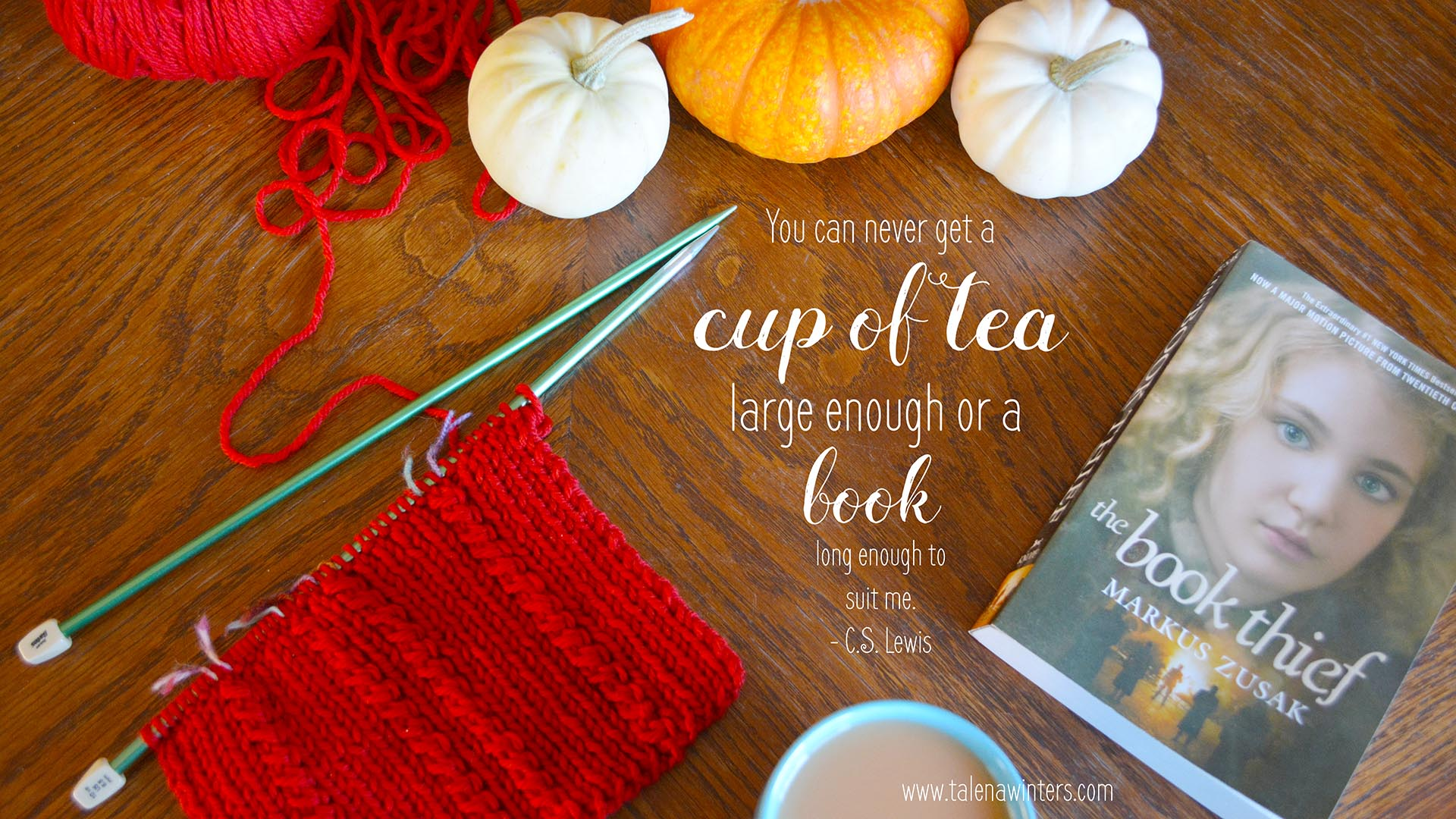 """You can never get a cup of tea large enough or a book long enough to suit me."" - C.S. Lewis. Desktop wallpaper. 1920x1080 resolution. Find more free inspirational desktop wallpapers at  www.talenawinters.com/desktop-wallpapers ."
