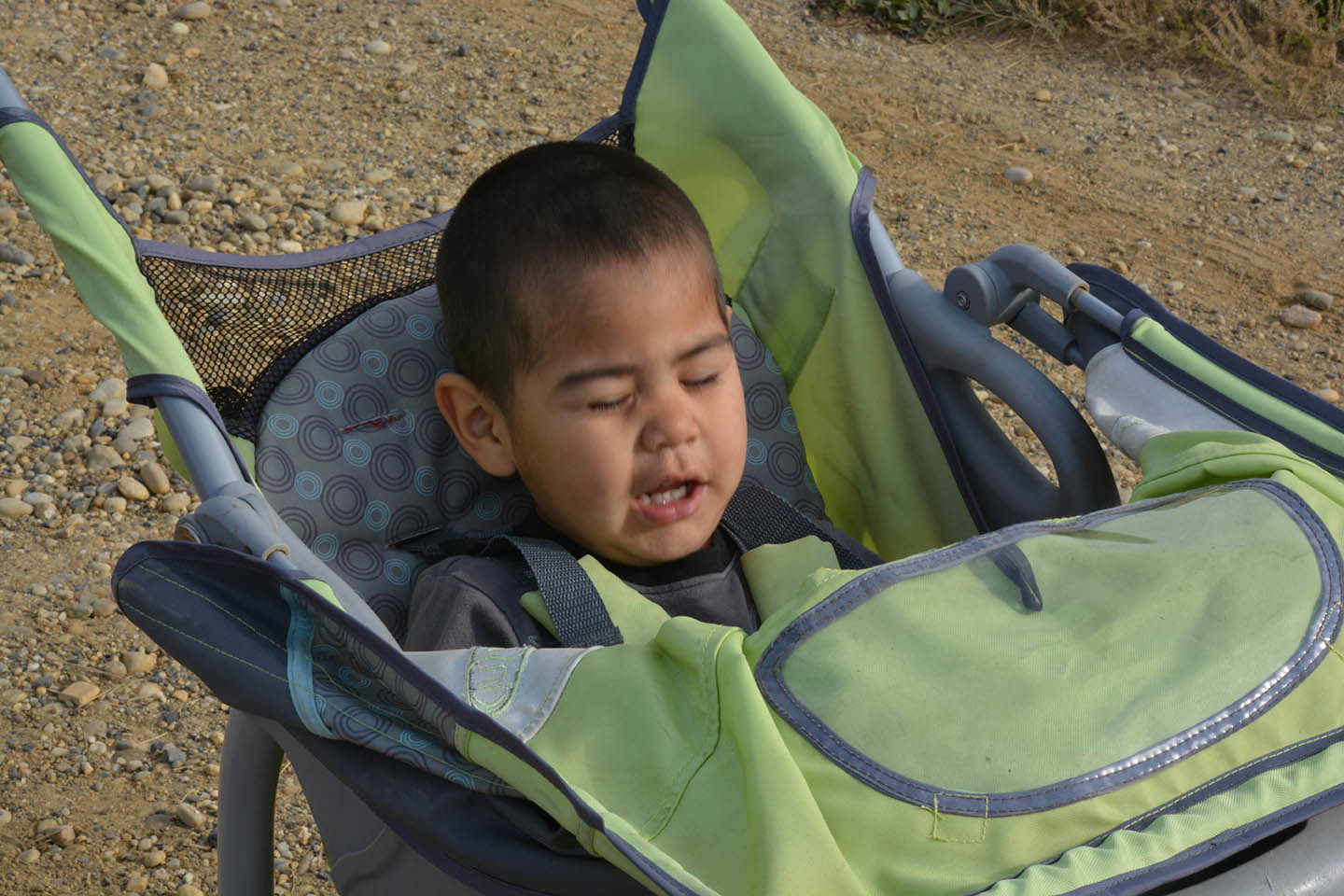 """Levi playing """"naptime"""" in his stroller. September 2014. 2 1/2 years."""