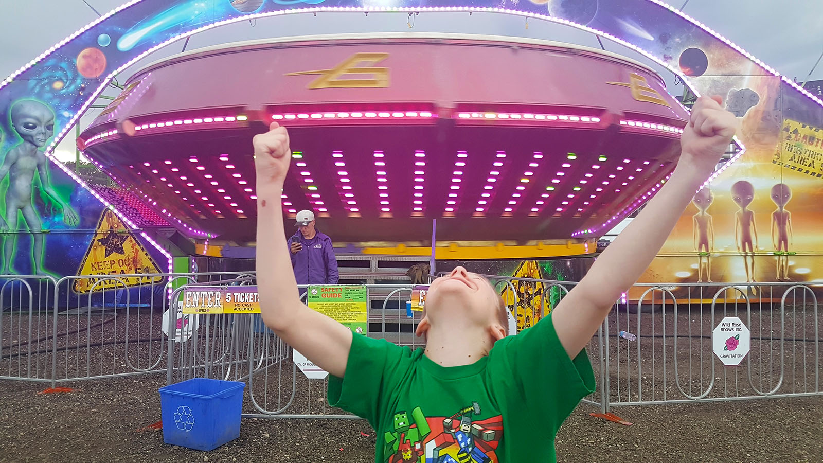 Noah after conquering the ride at the carnival which he had been most afraid to try, and which then became his favourite.