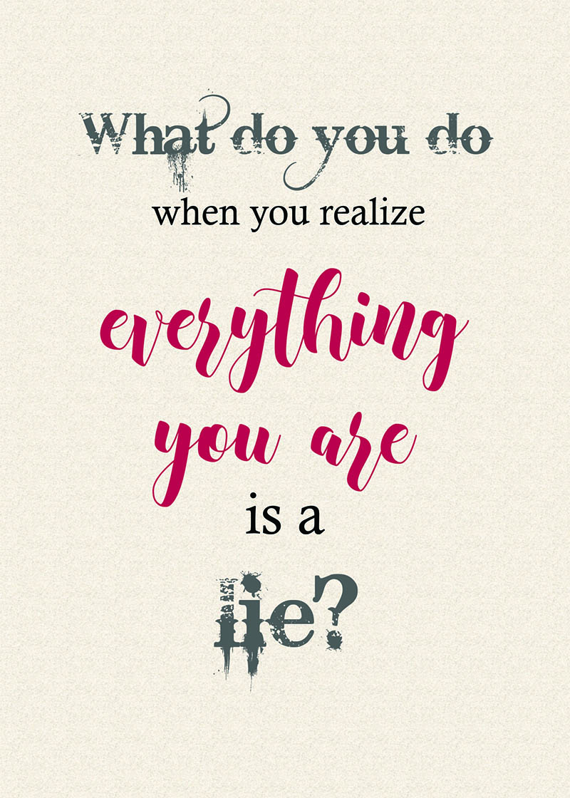 """What do you do when you realize everything you are is a lie?""  Quote word art from  Finding Heaven  by Talena Winters. 5""x7"""