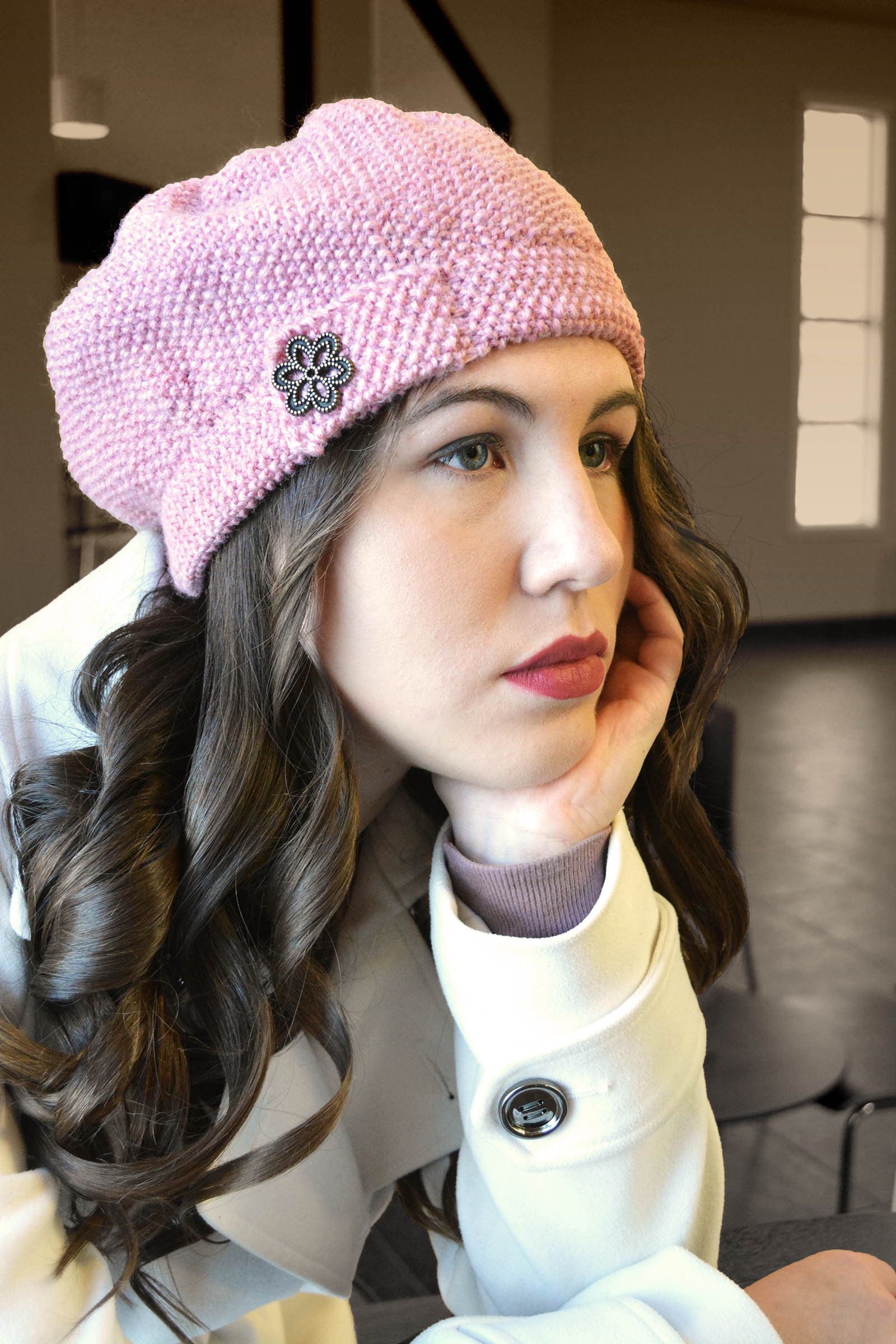 War Bride Beret knitting pattern, sized from children to adults.