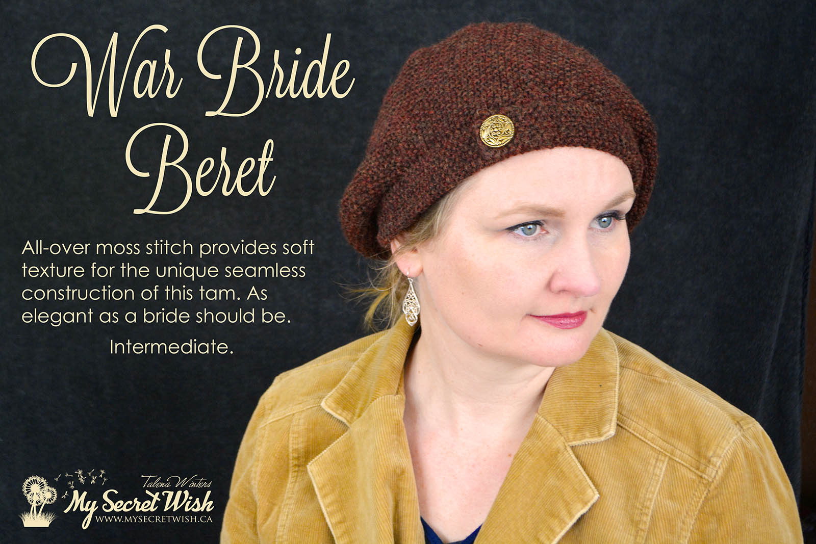 War Bride Beret knitting pattern by Talena Winters. Effortless, elegant chic for toddlers through Ladies' Large.