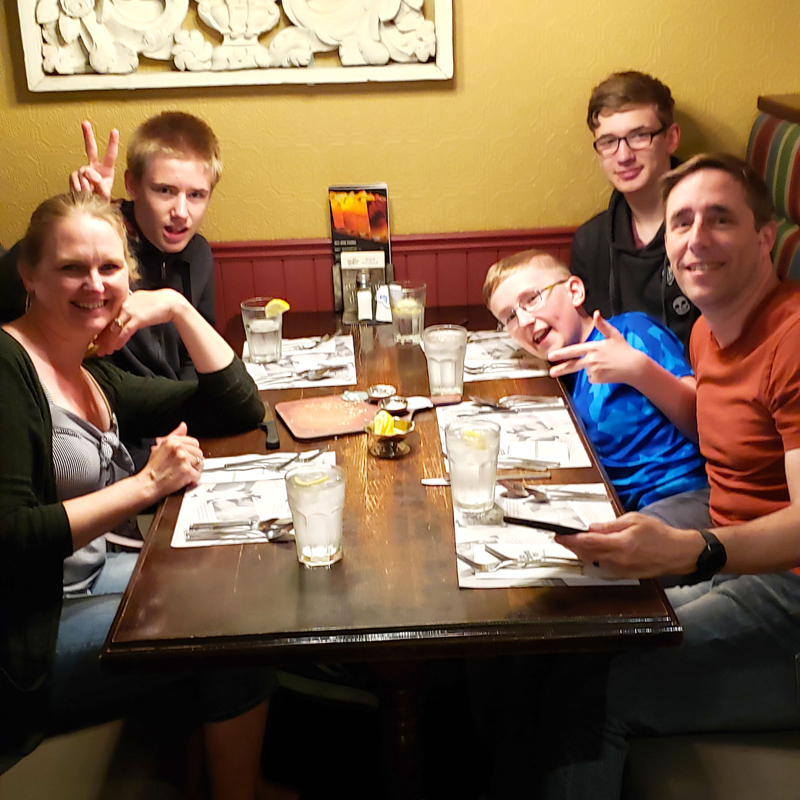 Enjoying supper at the Old Spaghetti Factory in West Edmonton Mall.
