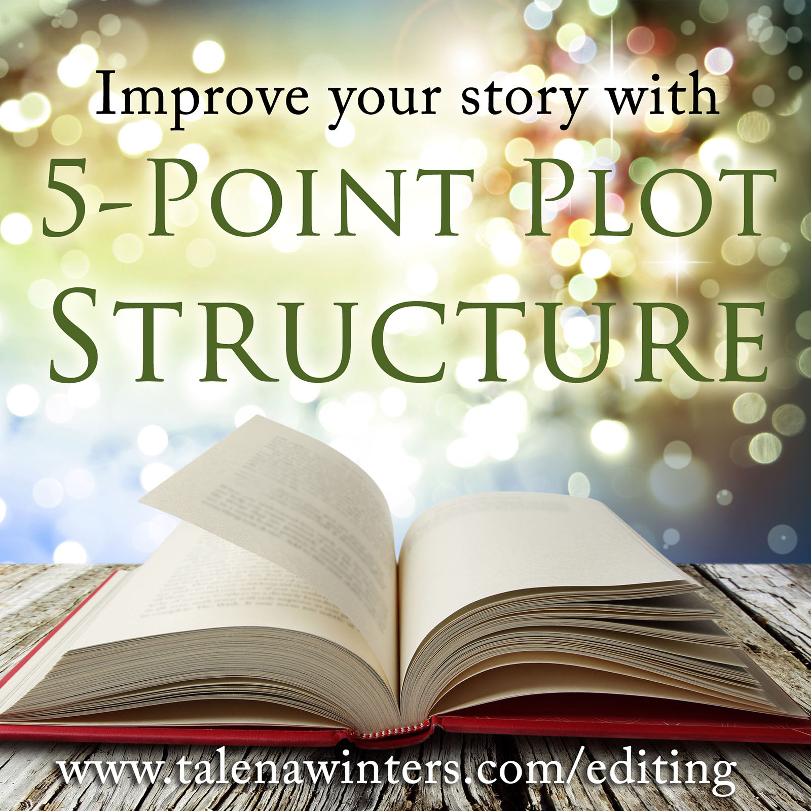 Improve your story with 5-Point Plot Structure - free download from talenawinters.com/editing.  Whether you are a pantser or a plotter, every story needs to follow a basic outline of rising tension to a satisfactory climax. The 5-Point Plot Structure is one of the most basic frameworks to guide your story.  Talena Winters breaks down the 5-Point Plot Structure, then uses it to analyze the movie  Moana , with tips for relating this to other genres. The structure can be applied to short stories, novels, chapters, episodes, and series. It is a great tool for writers and authors, whether self-published or traditionally published, to improve their writing.